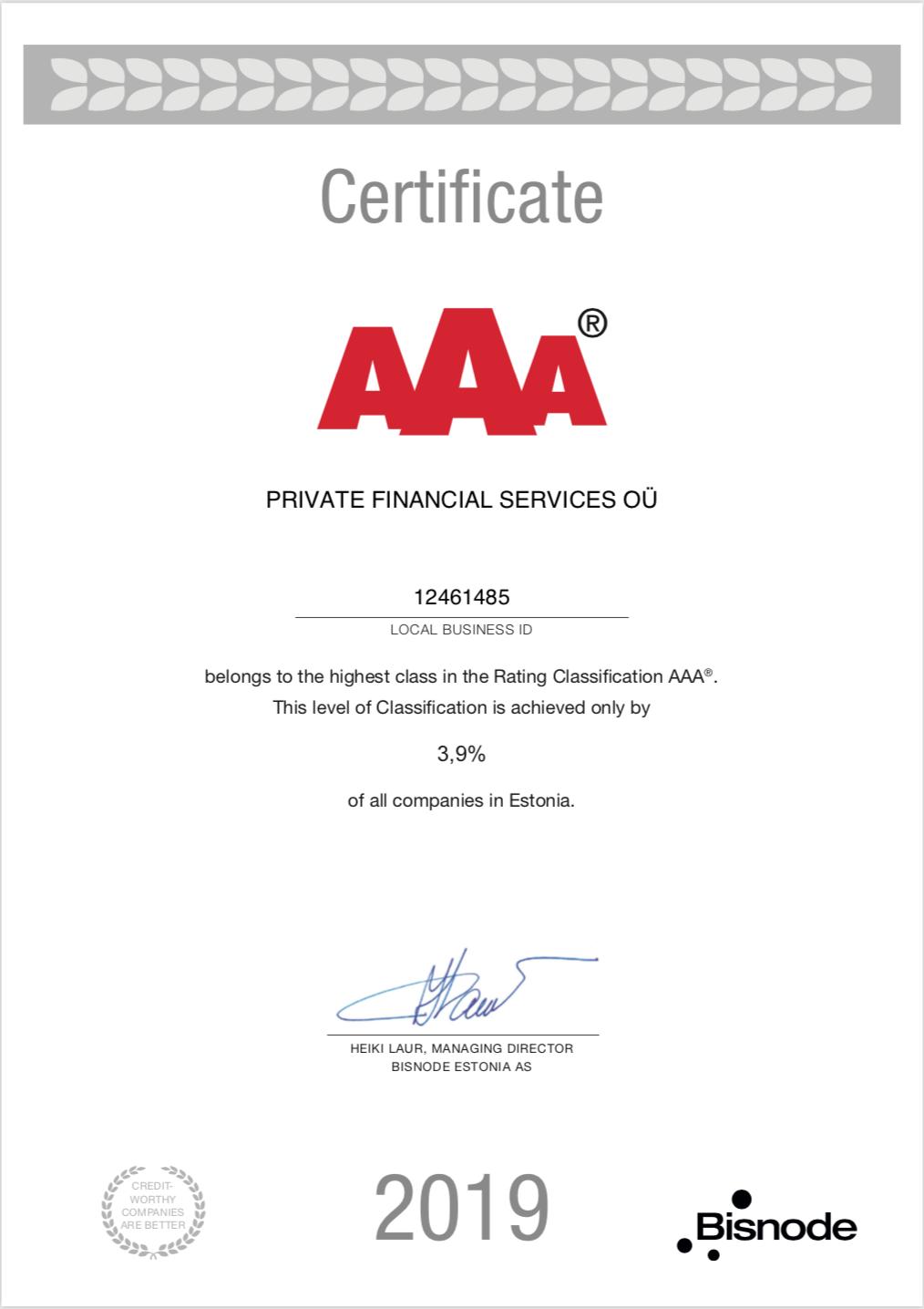 Эстонский филиал получил кредитный рейтинг ААА