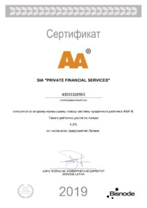 Bisnode Latvia Certificate (Europe's largest provider of smart data and analytics)