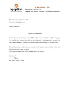 Reference Letter from IQ Option, Leading Forex Company